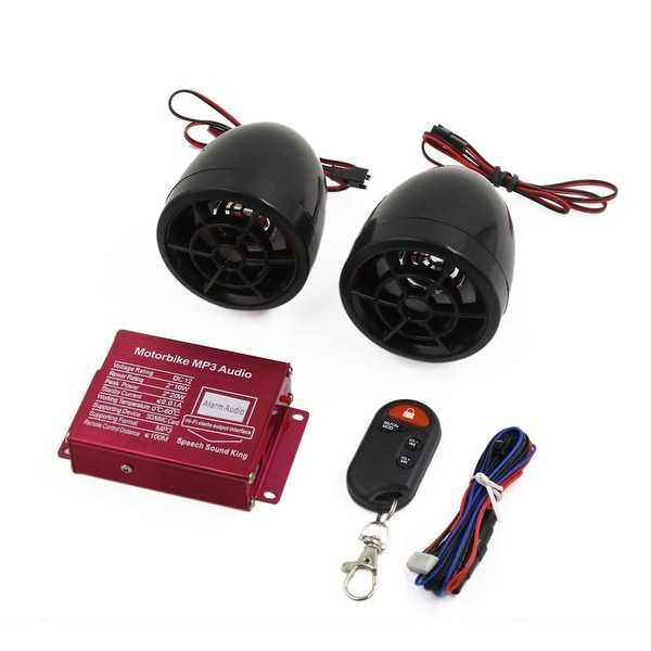 Unique Bargains 2Pcs Black Motorcycle Motorbike MP3 Amplifier Speaker Audio Stereo