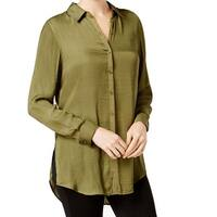 Olivia & Grace Green Womens Size Large L Satin Button Down Shirt