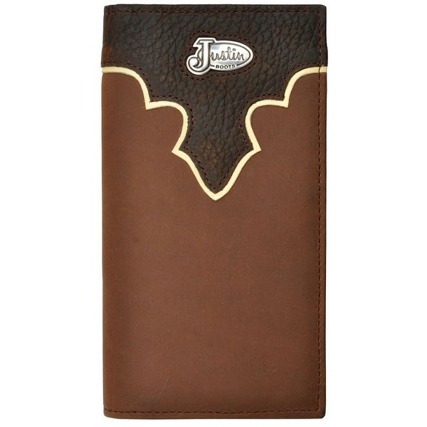 Justin Western Wallet Mens Rodeo Distressed Leather Logo Concho WJB04 - One size