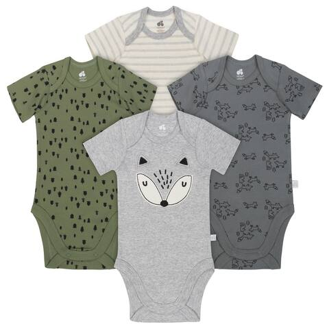 Just Born Boy Fox 4-Pack Organic Short-Sleeve Bodysuits