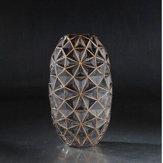 "13.5"" Brown Diamond Pattern Glass Oval Vase - N/A"