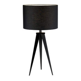 """Adesso 6423 Director Single Light 28"""" Tall Tripod Table Lamp with Fabric Drum Sh"""
