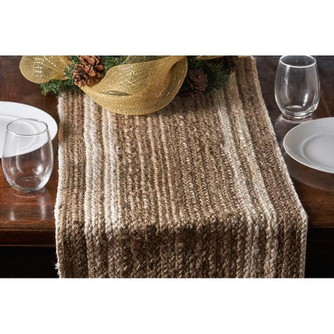 """Bleached Bordered Natural Jute Table Runner - 1'-4"""" X 6'-8"""""""