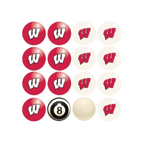 NCAA Wisconsin Badgers Billiard Balls Complete Set of 16 Balls - White
