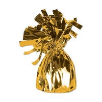 Club Pack of 12 Metallic Gold Party Balloon Weight Decorative Birthday Centerpieces 6 oz.