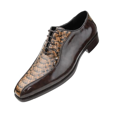 Bolano Men's Exotic Smooth Faux Animal Print Oxford Dress Shoe - rust-cognac