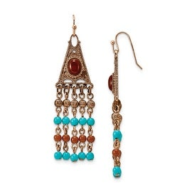 Copper Aqua & Brown Acrylic Beads Dangle Earrings