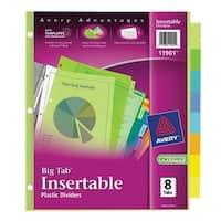 Avery 11901 Big Tab Insertable Reference Dividers Assorted 8 Count Divider 8color Plstc