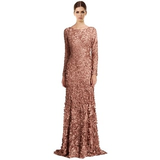 Theia Long Sleeve Petal Applique Satin Evening Gown Dress - 16