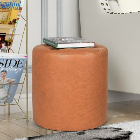 Adeco Round Footrest Ottoman Upholstered Tufted Leather Footstools