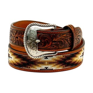Nocona Western Belt Mens Bead Inlay Bead Southwestern Tan