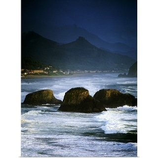 """""""View Of Storm Over Cannon Beach From Ecola State Park"""" Poster Print"""