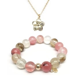 "Pink Cherry Quartz 7"" Bracelet & Flower Gold Charm Necklace Set"