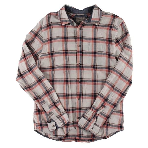 4cec176702 Guess Mens Button-Down Shirt Linen Slim Fit – M