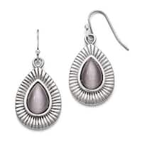 Chisel Stainless Steel Polished Grey Cat's Eye Shepherd Hook Earrings