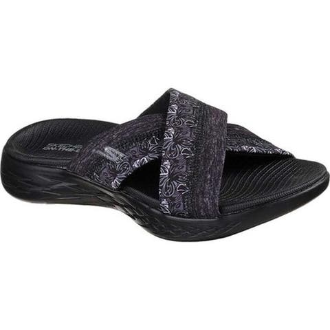 9d01557fd5b Skechers Women s On the GO 600 Monarch Slide Sandal Black Black