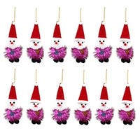 Unique Bargains 12PCS Red Cap Detail Christmas Santa Claus Pendant Purple for Indoor Xmas Tree