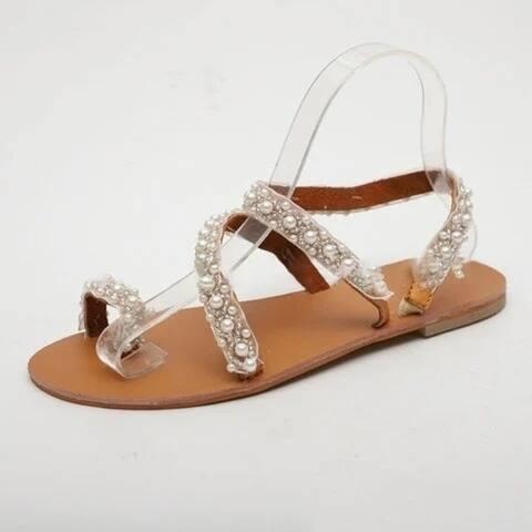 Women Boho Handmade Pearl Beach Sandals Bridal Shoes