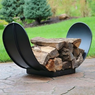 Groovy Sunnydaze Curved Black Steel Outdoor Firewood Storage Log Rack 3 Foot Overstock Com Shopping The Best Deals On Outdoor Storage Gmtry Best Dining Table And Chair Ideas Images Gmtryco