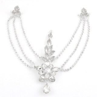 Wedding Bridal Party Lady Rhinestone Head Chain Headdress Frontlet Silver Tone