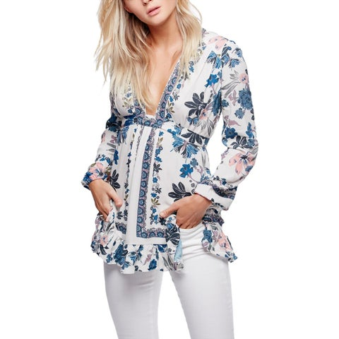 Free People Womens Tunic Top Floral Print Plunging