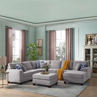 Copper Grove Vigneux 7 Piece Linen Modular Sectional Chaise Sofa