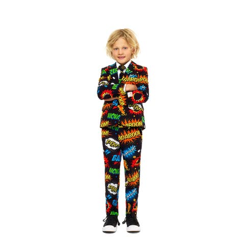 Black and Blue Boy Child Badaboom Comics Suit - Small