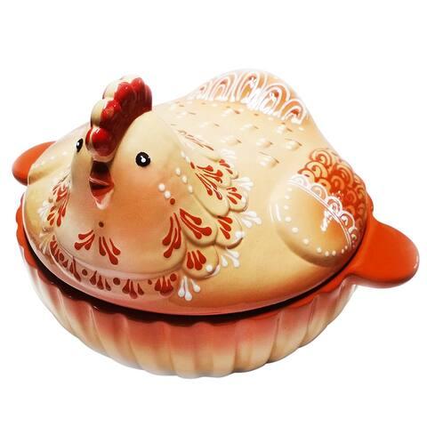 "STP Goods 11"" Chicken Shaped Stoneware Baking Dish"