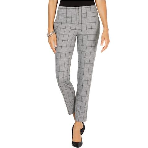 Kasper Womens Plaid Dress Pants, black, 14