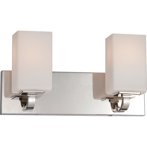 """Nuvo Lighting 60/5182 Vista 2-Light 15-1/2"""" Wide Bathroom Vanity Light with Frosted Glass Shades - Polished Nickel"""
