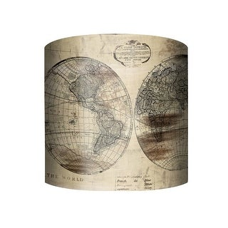 """PTM Images 10-0144 World Map 10"""" Tall x 12"""" Wide Cylinder Fabric Lamp Shade with Spider Fitter - beige - n/a"""