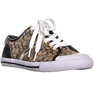 Coach Frances Lace Up Sneakers, Khaki/Gold Multi