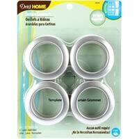 """Brushed Silver - Curtain Grommets 1-9/16"""" Inner Diameter Plastic 8/Pkg"""