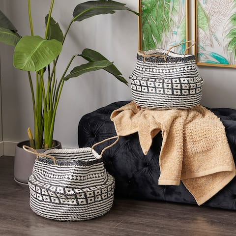 Black Wood Eclectic Storage Basket (Set of 2) - 18 x 17 x 16