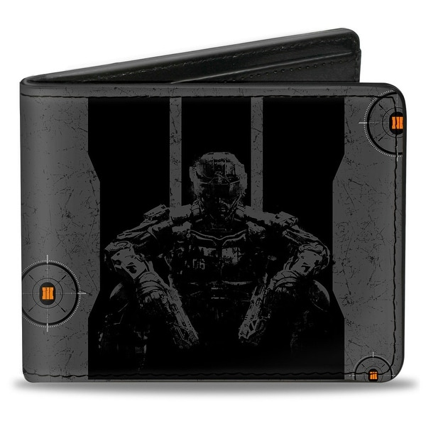 Call Of Duty Black Ops Iii Soldier Logo Targets Weathered Grays Black Bi-Fold Wallet - One Size Fits most