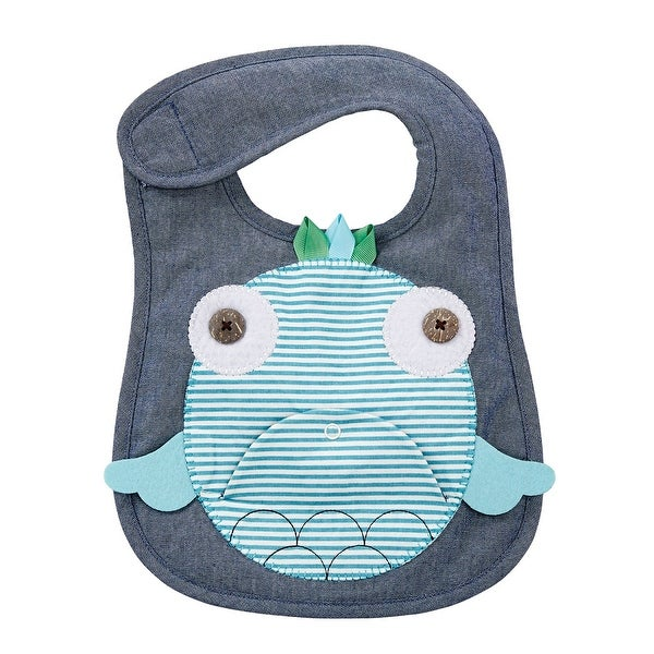 30b448a95 Mud Pie Navy and Teal Fish Baby Boy or Girl Toddler Bib Cloth Chambray  Appliqued