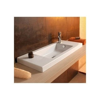 """Nameeks 3501011 Tecla 31-1/2"""" Ceramic Wall Mounted / Drop In Bathroom Sink with 0 / 1 Faucet Holes and Overflow"""