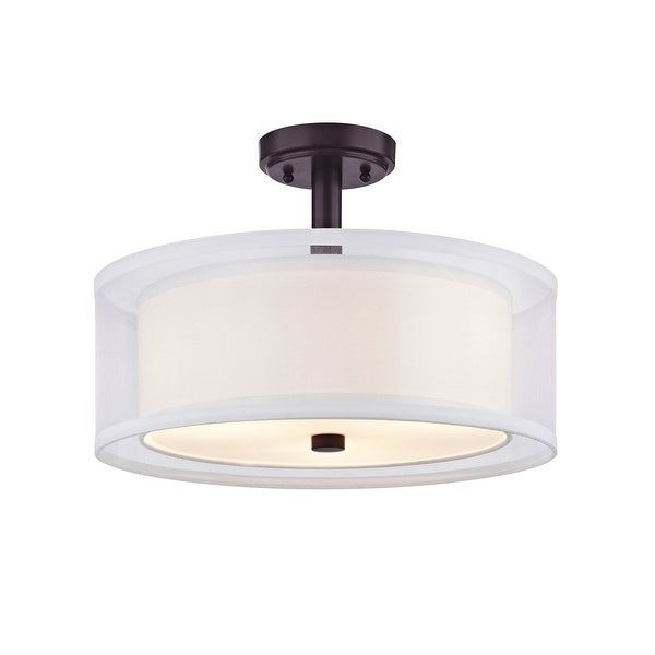 "Conical 16 Drum Semi Flush Fixture In 2019: Shop Dolan Designs 1275 Double Organza 3-Light 16"" Wide"