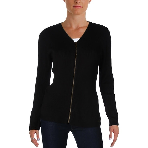 Calvin Klein Womens Full Zip Sweater Ribbed Knit Stretch