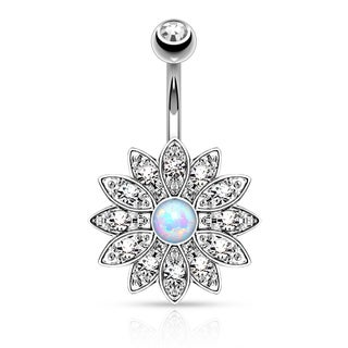 Paved Crystal Flower with Synthetic Opal Center Navel Ring (4 options available)