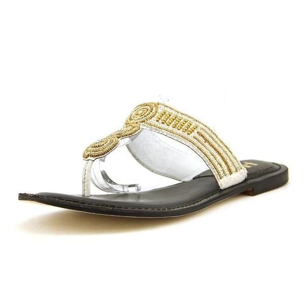 Mia Heritage Borneo Women Open Toe Synthetic Silver Thong Sandal