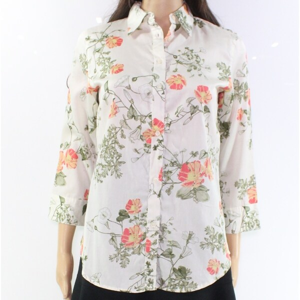 d3b2fffa2 Shop Lauren By Ralph Lauren White Women Large L Floral Button Down Shirt -  Free Shipping On Orders Over  45 - Overstock - 28461353