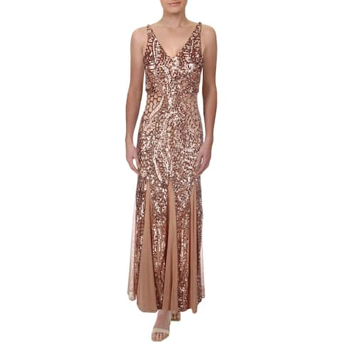 NW Nightway Womens Petites Evening Dress Sequined Sleeveless - Rose Gold