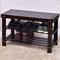 Costway 3 Tier Bamboo Shoe Rack Bench Storage Shelf Organizer Entryway Home Furni Black