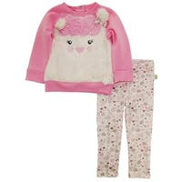 Duck Goose Baby Girls Cute Doll Sheep Cardigan Sweater Hearts Print Pant Set
