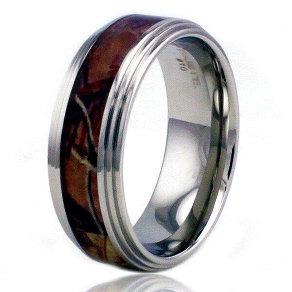 8mm Stainless Steel Camo Wood Design Inlay High Polish Ring w/ Step Down Edge