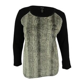 Style & Co. Women's Faux Fur Sweater Top - Deep Black