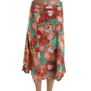 Isolda Womens Silk Lobster A-Line Skirt