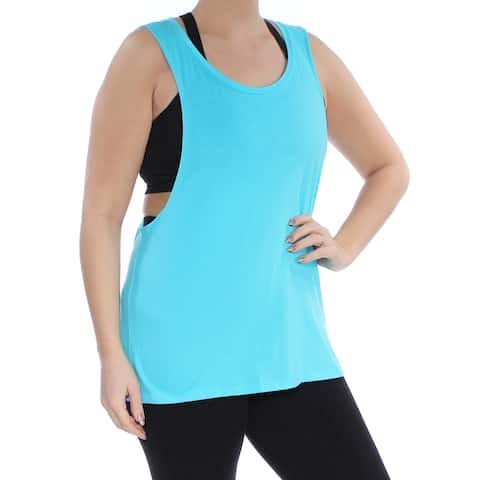 MATERIAL GIRL Womens Blue Sleeveless Scoop Neck Active Wear Top Size: L