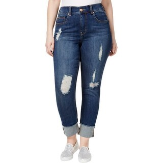 Seven7 Womens Plus Straight Leg Jeans Comfort Waist Distressed